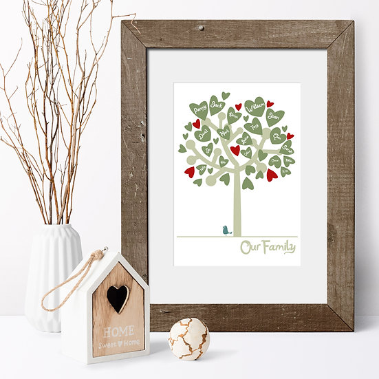 Personalised Our Family Tree Olive Green & Red Wooden Frame