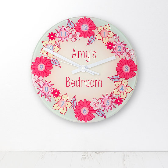 Flower Garland Personalised Little Girl's Wall Clock view 1