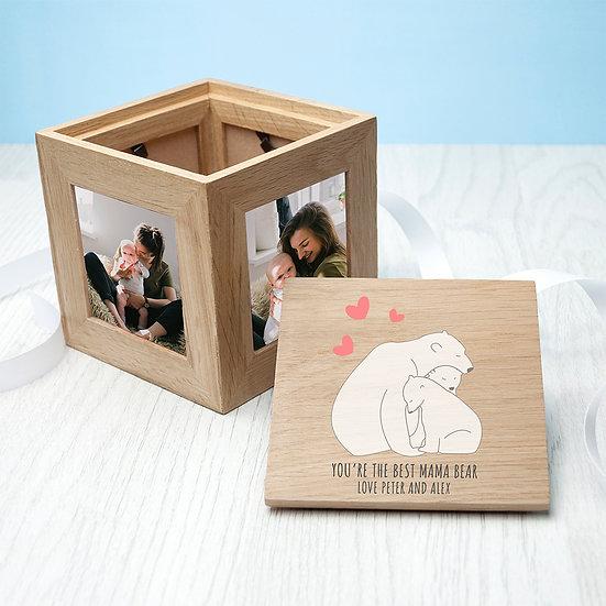 Personalised The Best Mama Bear Oak Photocube Keepsake Box 1