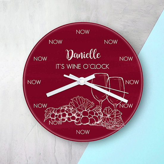 Personalised Wine O'Clock Glass Clock