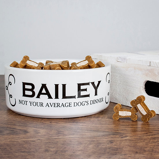 Personalised Dogs Dinner Dog Food Bowl Side View