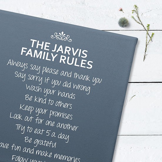 Personalised Family Rules Canvas Blue Close View
