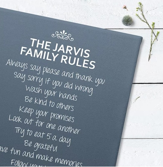Personalised Family Rules Canvas close up