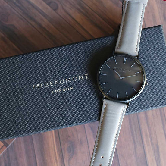 Men's Personalised Watch from Mr Beaumont in Grey 1