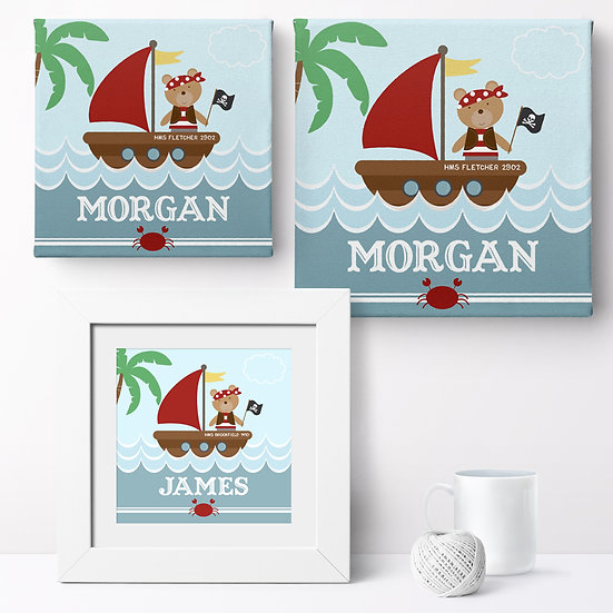 Personalised 'Pirate Bear' Prints and Canvases 1