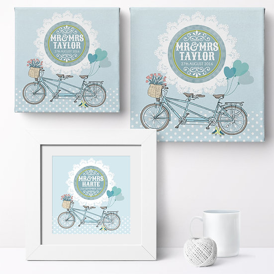 Personalised 'Bicycle Built for Two' Canvases and Prints 1