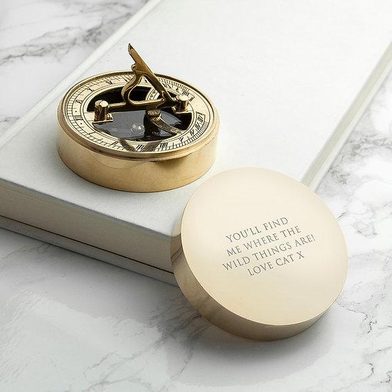 Adventurer's Brass Sundial and Compass 1