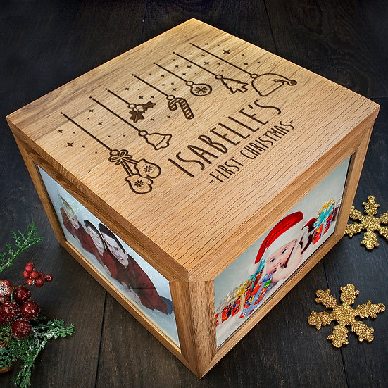 Personalised Baby's First Christmas Memory Box Corner View