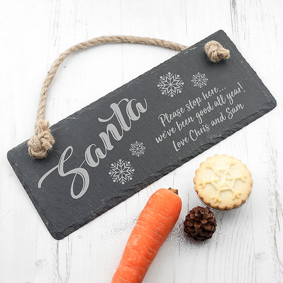 Personalised Santa Please Stop Here Slate Hanging Sign 1st Image
