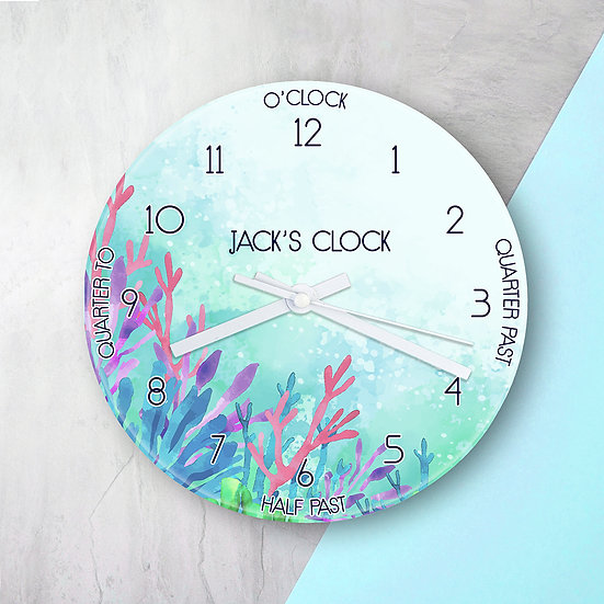 Personalised Kids Sealife Glass Clock