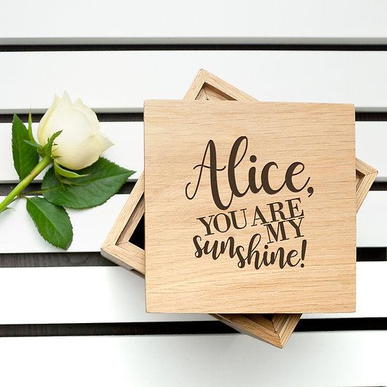 Personalised My Sunshine Oak Photo Cube