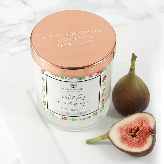 Personalised Wild Fig & Red Grape Candle With Copper Lid