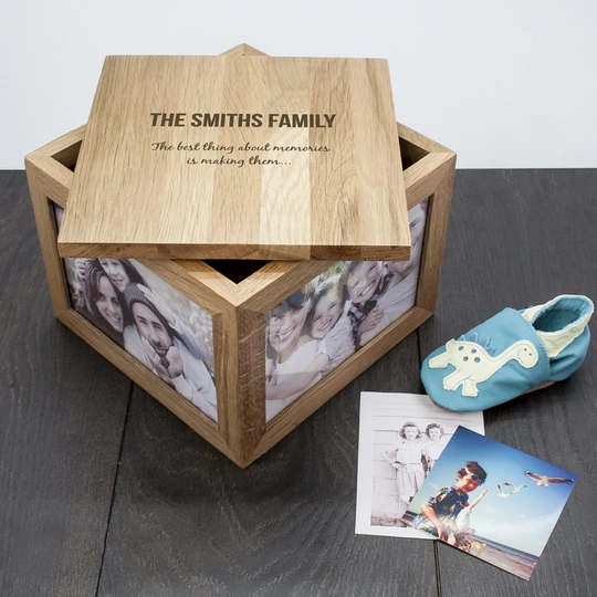 We Are Family Oak Photo Keepsake Box First View