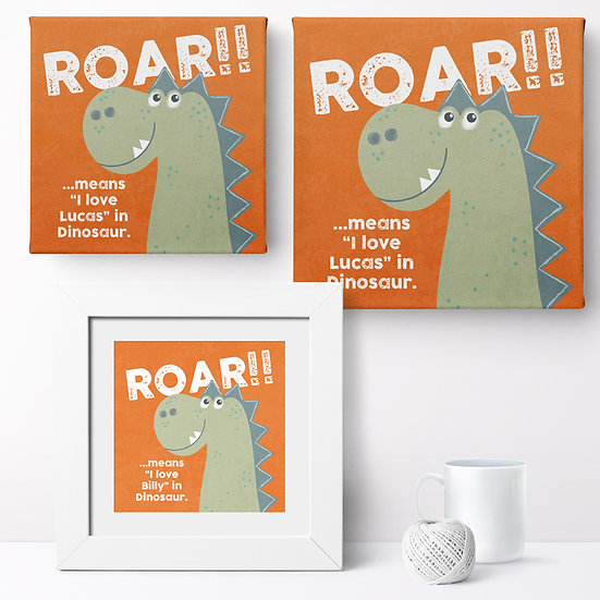 Personalised 'Love Dinosaur' Prints and Canvases