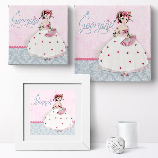 Personalised 'Pretty Damask Belle' Canvases and Prints 1
