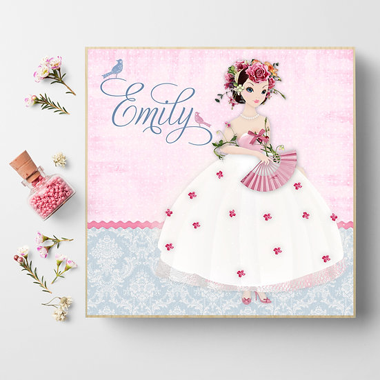 Personalised 'Damask Belle' Picture Blocks