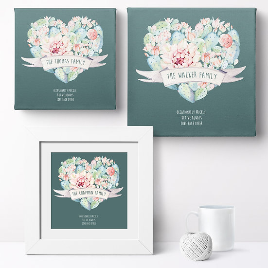 Personalised 'Cactus Family' Canvases and Prints 1