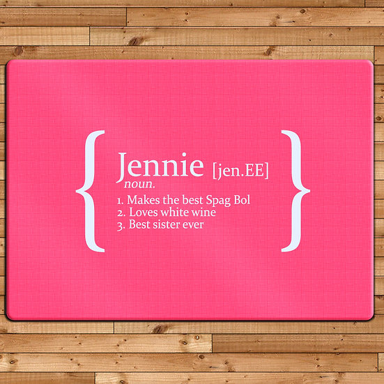 Personalised Definition Glass Chopping Board pink