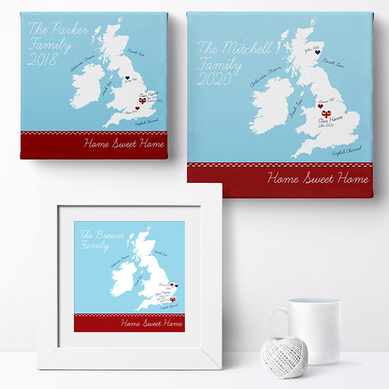 Personalised 'Home Sweet Home' Prints and Canvases 1