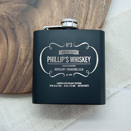 Personalised Whiskey Vintage Hip Flask Image 1