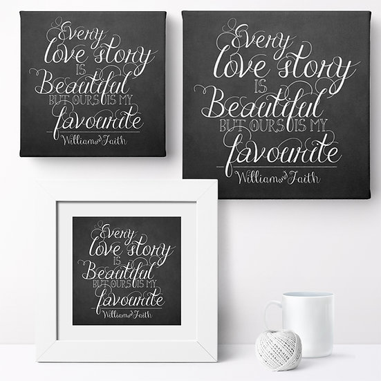 Personalised 'Love Story' Prints and Canvases 1