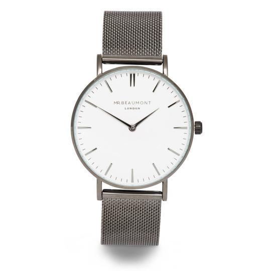 Men's Personalised Watch from Mr Beaumont in Gun Metal Grey 1