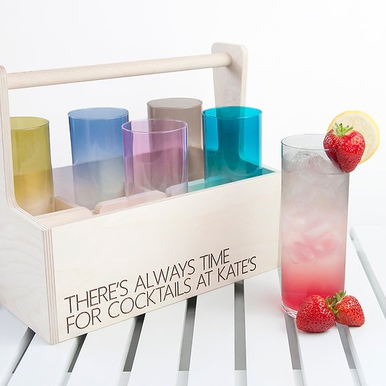 Personalised Coloured Cocktail Glasses and Trug 1st image