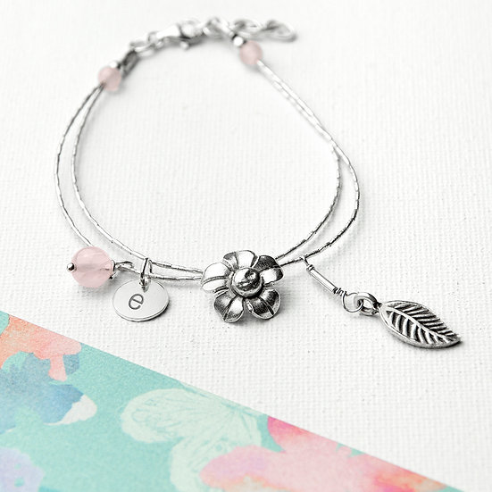 Personalised Forget Me Not Friendship Bracelet With Rose Quartz Stones 1