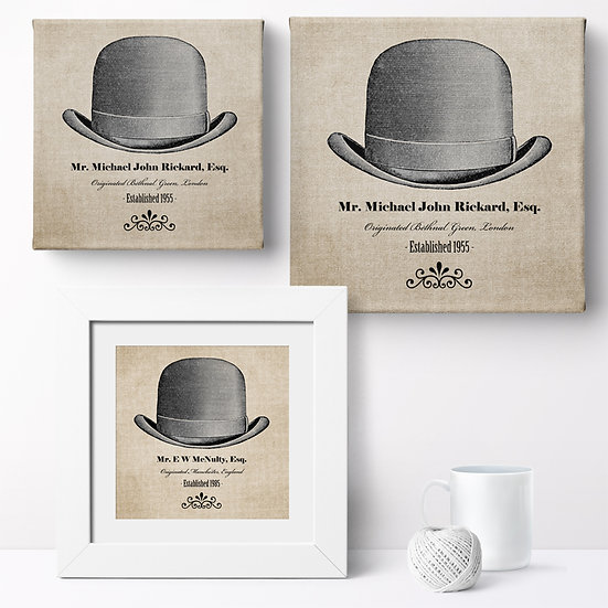 Personalised 'Gentleman's Hat' Canvases and Prints 1