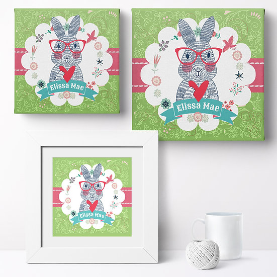 Personalised 'Spectacled Rabbit' Prints and Canvases