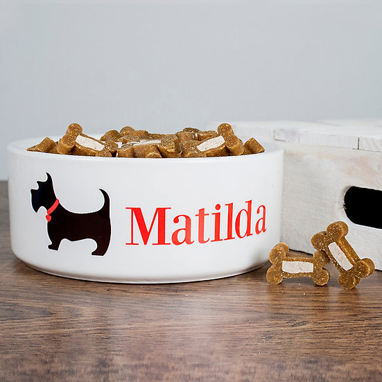 Personalised Scottie Dog Food Bowl Side View