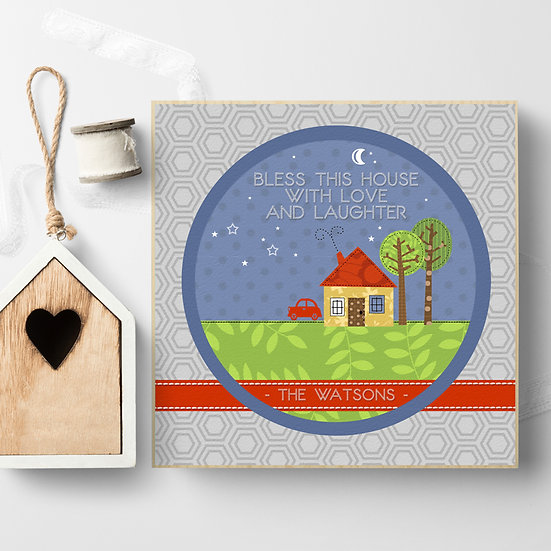 Personalised 'Bless This House' Picture Blocks