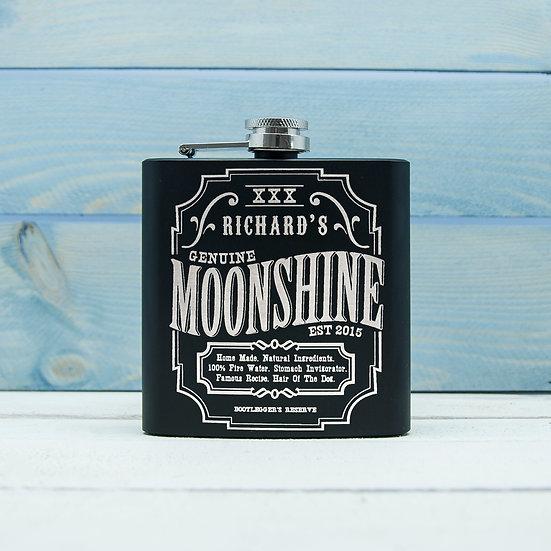 Personalised Moonshine Vintage Hip Flask image 1