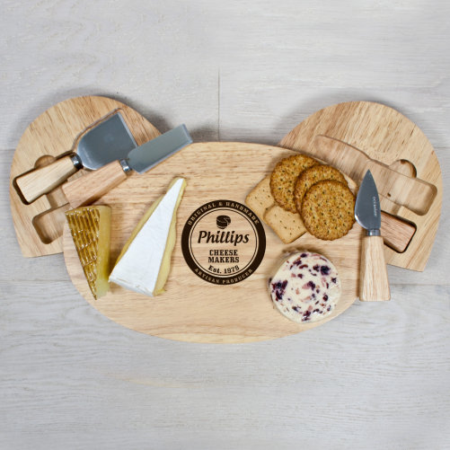 Personalised Artisan Cheese Makers Classic Cheese Board Set Above View
