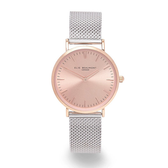 Own Handwriting Small Elie Beaumont Rose Silver Watch