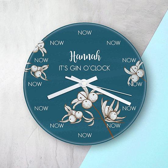Personalised Gin O'Clock Glass Clock