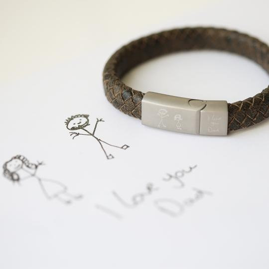 Engraved Handwriting Leather Bracelet 1st view
