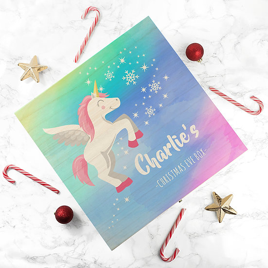 Personalised Colourful Baby Unicorn Christmas Eve Box Large Above