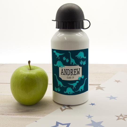 Dinosaur Silhouette Personalised Water Bottle Navy