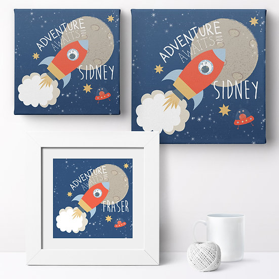 Personalised 'Retro Spaceship' Prints and Canvases