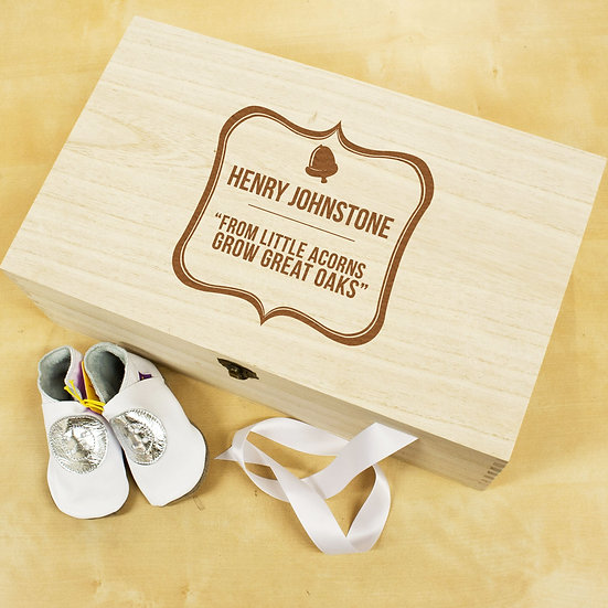 Personalised Baby Acorn Sentiment Keepsake Box