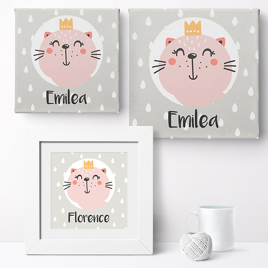 Personalised 'Kitten Princess' Prints and Canvases 1