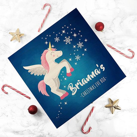 Personalised Baby Unicorn Christmas Eve Box Large Above