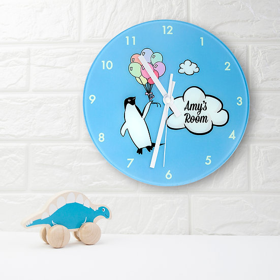 Percy Penguin Personalised Wall Clock view 1