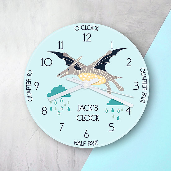 Personalised Kids Pterodactyl Glass Clock