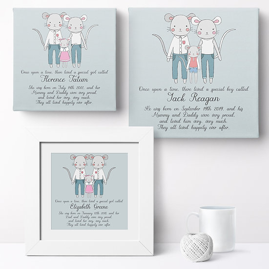 Personalised 'Mouse Family' Prints and Canvases 1