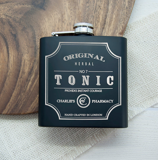 Personalised Tonic Vintage Hip Flask 1st View