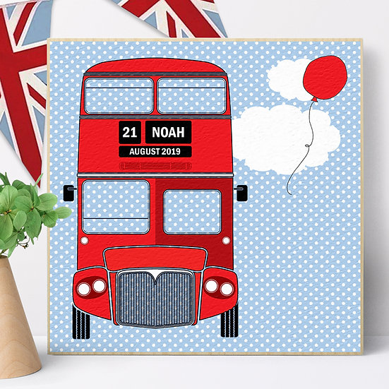Personalised 'London Bus' Picture Blocks