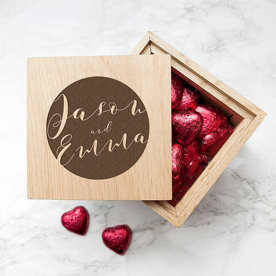 Personalised Typography Oak Photo Cube with Chocolates 1
