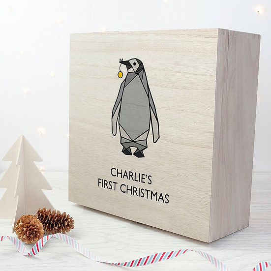 Personalised Baby Penguin First Christmas Box Large Front View